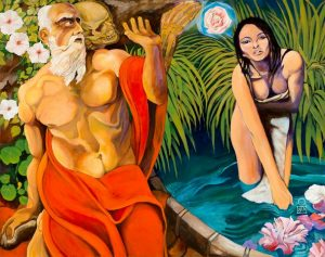 "Saint Jerome and the Mystic Rose | Acrylic on Canvas | 48""x38"" 